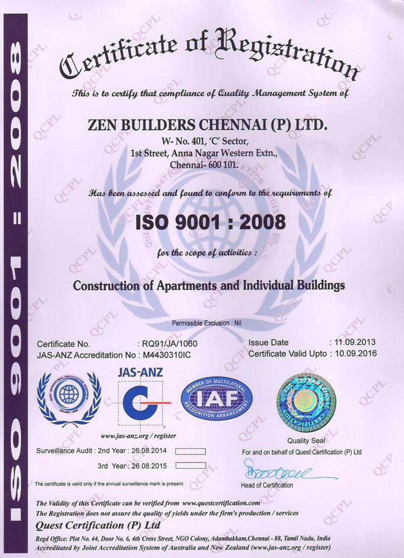 Iso certificate zen builders chennai p ltd builders iso certificate xflitez Images